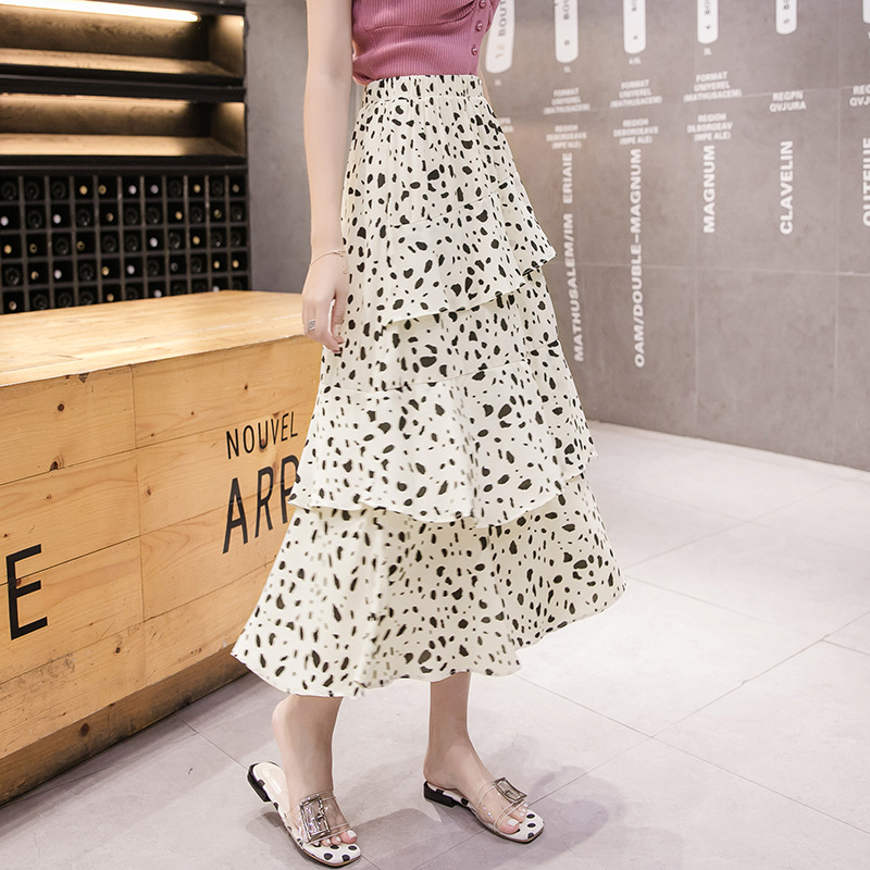 CYNTHIA Summer Women Chiffon Skirts Female Vintage Floral Asymmetrical Ruffles Mid-Calf Skirts