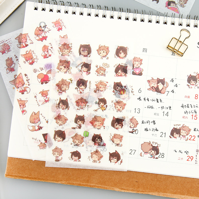 6 Sheets/pack Japanese Anime Boys Girls Decorative Washi Stickers Scrapbooking Stick Label Diary Stationery Album Stickers