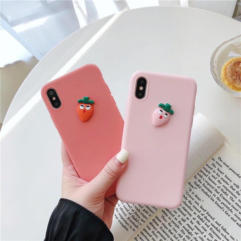 Cute 3D Carrot Funny Case For Xiaomi Redmi Note 5 6 7 Pro S2 8A 4X 4A K20 Pro GO Cover Soft Matte Cases