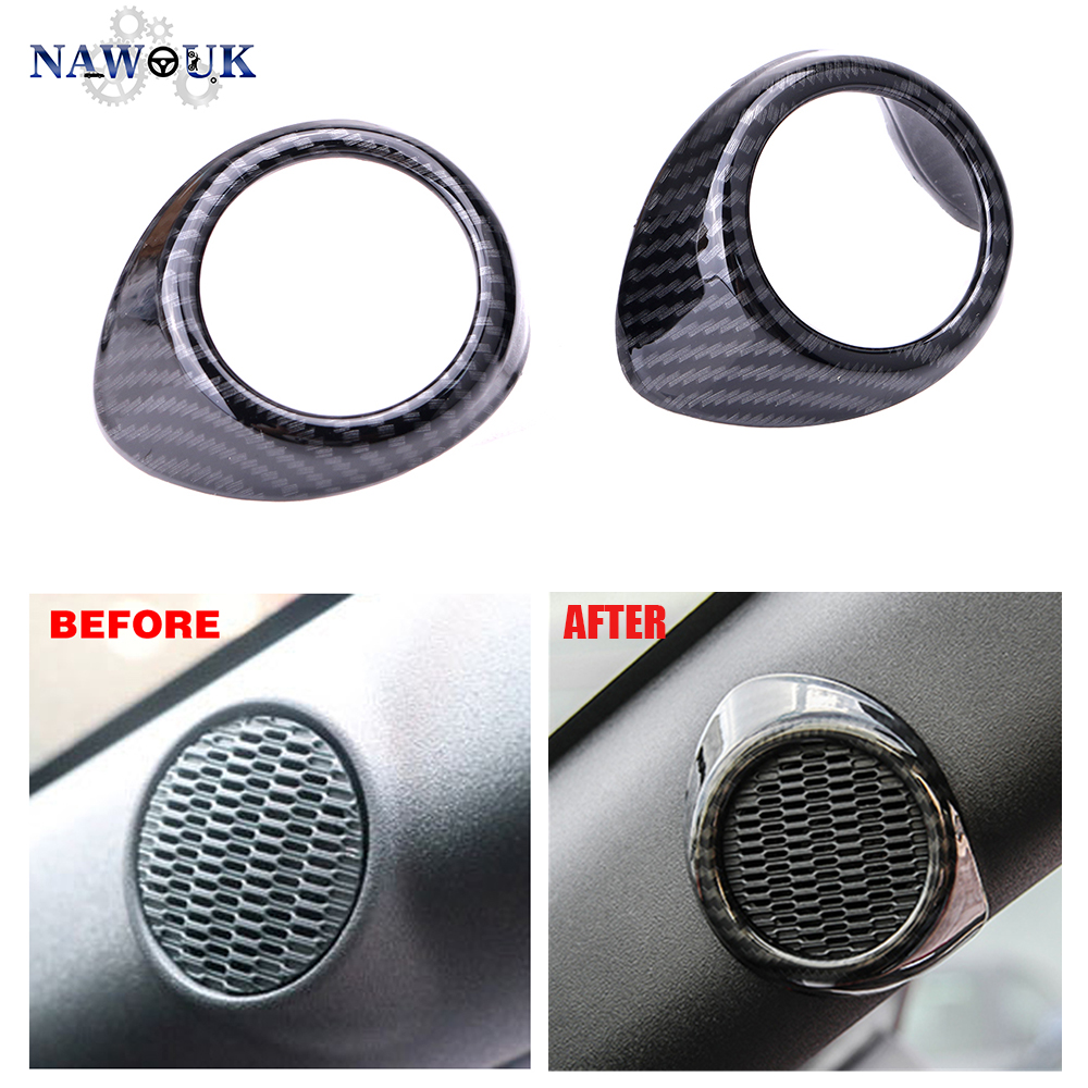 Carbon Fiber A-pillar Speaker Cover Car Interior Speaker For Ford Mustang 2015+