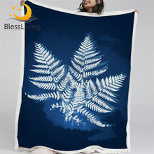 BlessLiving Leaf Plush Blanket Watercolor Bed Blankets for Bedroom Furry Bedspread Blue Plant Energy Leaves Bedding Soft Plaid(China)