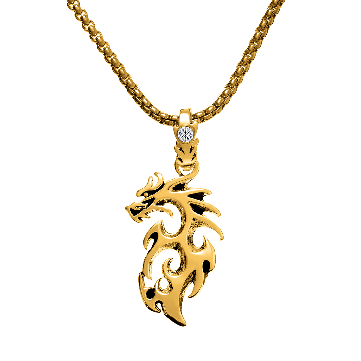 Punk Dragon Pendant Necklace Shellhad Antique Silver Gold Color Long Chain Neckleace For Men Chinese Style Lucky Jewelry Gift