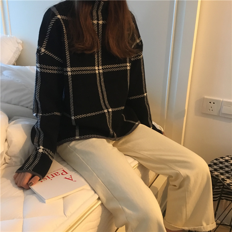 Winter new women's sweater fashion high collar loose knitting