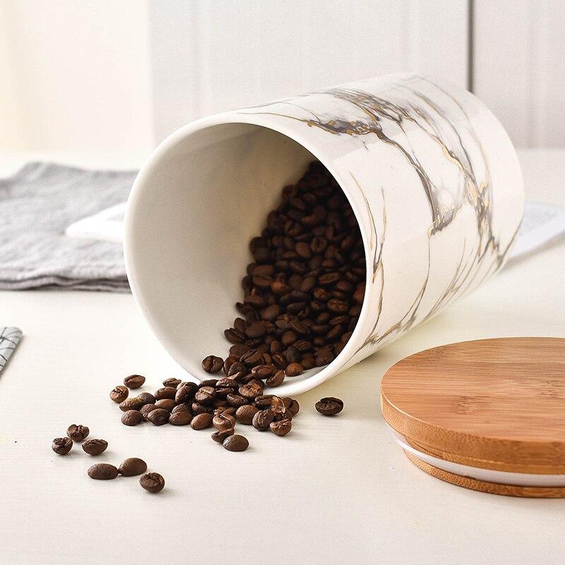 Té Café Azúcar Tarro conjunto tarros de almacenamiento de cocina 18cm alta Tapas De Cerámica Negra