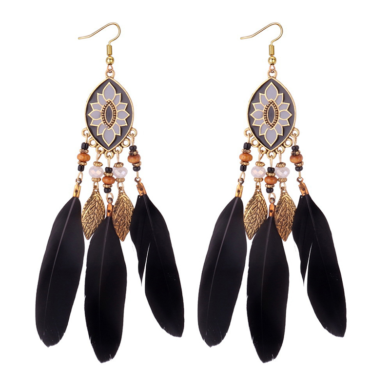 Boucles d'Oreilles Attrape Rêves Noir Bohème bijoux femme tenue unique style chic et bohème turquoise belle or massif style indien amérindienne capteurs de rêves