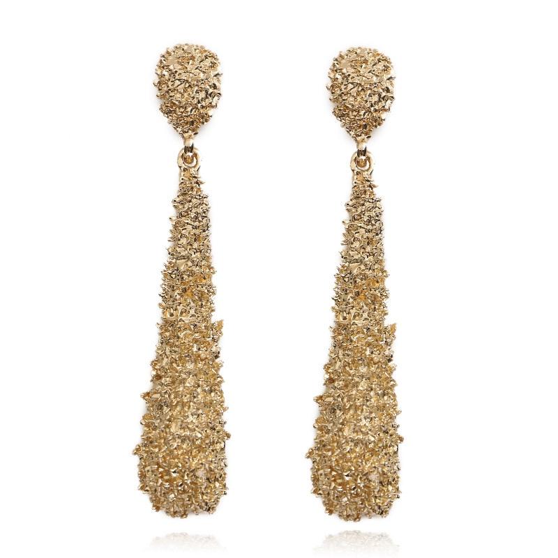 Elegant Gold Silver Alloy Women Geometric Water Drop Hoop Big Dangle Earrings