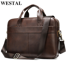 Laptop Bag Briefcase-Bag Handbag Document WESTAL Genuine-Leather Porte Men's Business