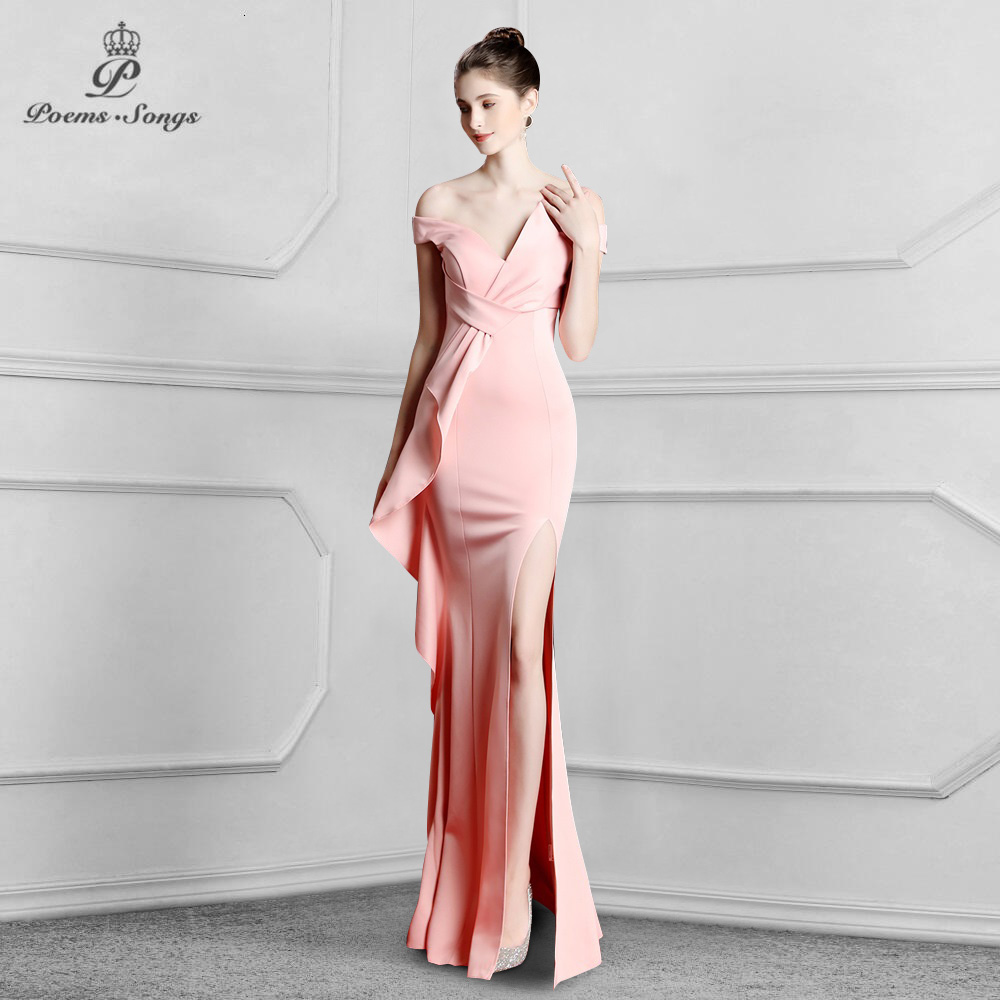 Boat Neck Candy Color Elegant  Mermaid Evening Dress prom gowns Formal Party dress vestido de festa Elegant  women dress
