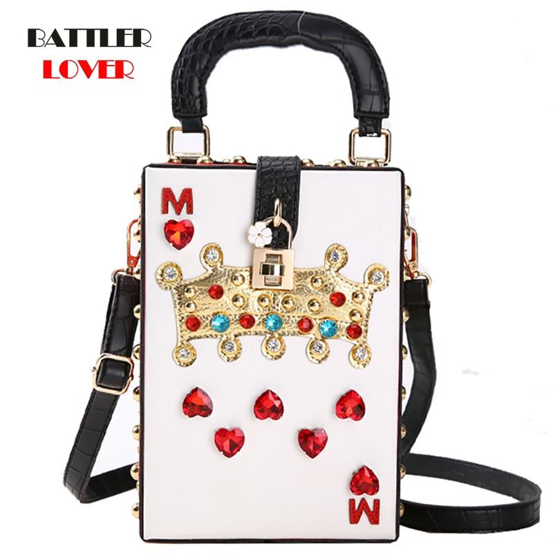 2019 Luxury Crossbody Bag Popular Womens Diamonds Queen Purse High Quality Shoulder Bags Ladies Evening Bags Box Clutch Handbag