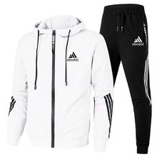 2020 spring and autumn brand fashion men's two-piece striped sportswear men's hooded top outdoor sports pants track suit suit
