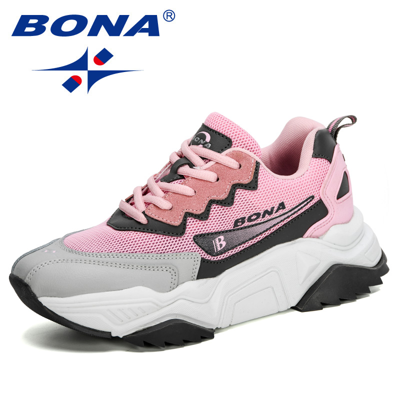 BONA 2020 New Designers Trendy Sneakers Women Jogging Shoes Trainers Lace Up Running Shoes Ladies Sport Shoes Feminimo Footwear