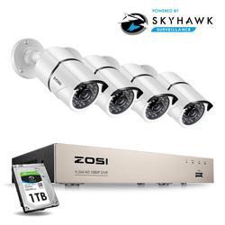 ZOSI 1080P система видеонаблюдения 4CH комплект камер видеонаблюдения для безопасности с 4X2,0 Мп HD наружная домашняя камера безопасности Супер но...