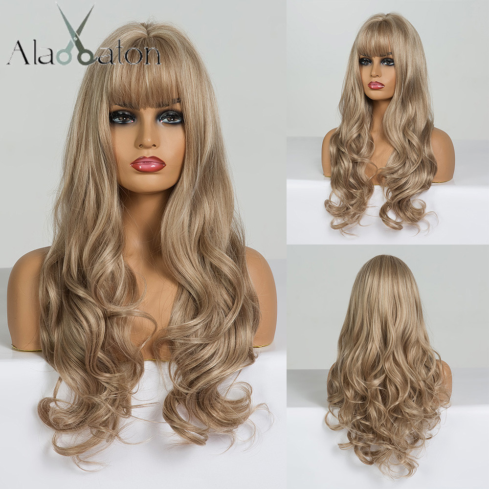 ALAN EATON Long Wavy Wigs for Black Women African American Synthetic Hair Light Brown Wigs with Bangs Heat Resistant Cosplay