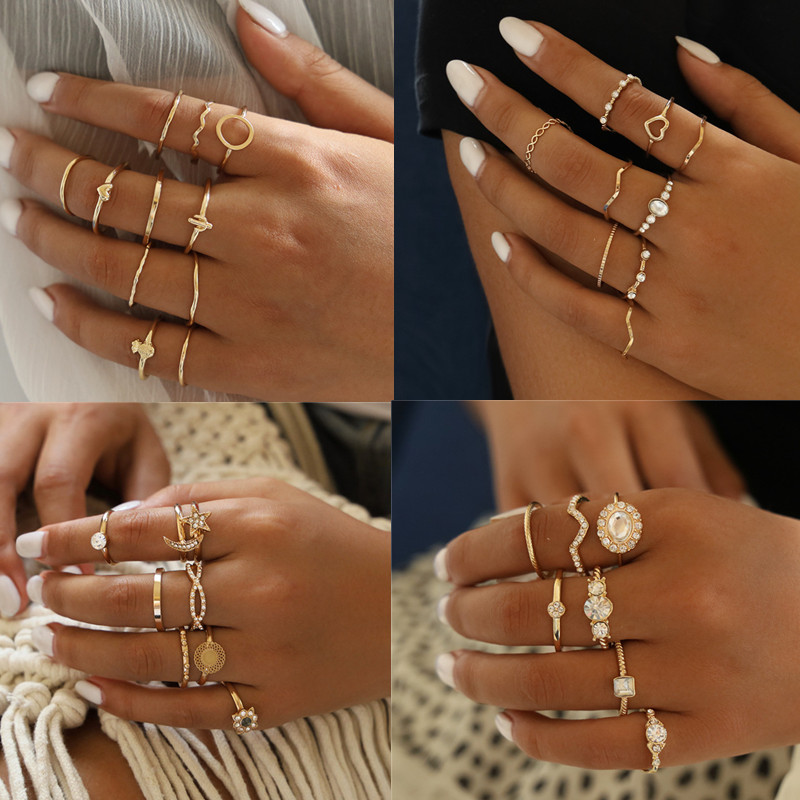 DIEZI Joint-Rings-Set Jewelry Knuckle Pineapple Wave Round Gold Heart Bohemian Vintage title=