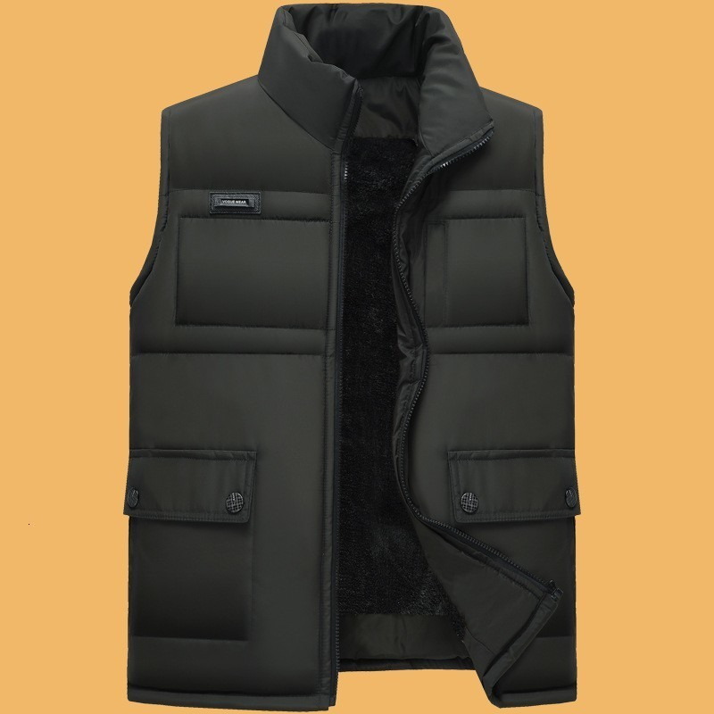 Winter Mens Fleece Lining Sleeveless Jacket Casual Outwear Vest Coat Slim Fit Thick Warm Waistcoat Gilet Homme Solid Color 4XL