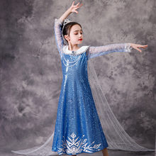 New Girls Castle Princess Elsa Sky Blue Diamond Sparkling Squined Fancy Dress With Long Cape Fantasy Halloween Party Costume(Китай)