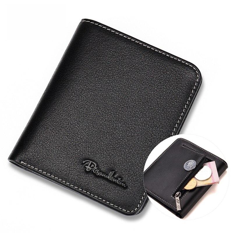 Мужские кошельки BISON DENIM, черный кошелек из натуральной кожи, визитница, мужской кошелек Mini N4429
