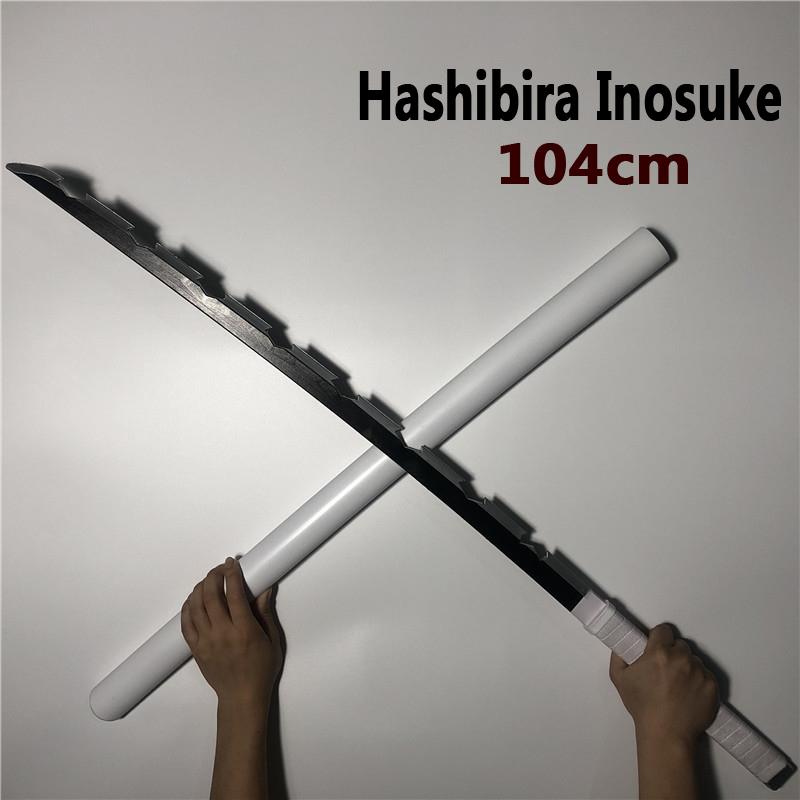 "41/"" Demon Hashibira Inosuke Slayer Metal Fantasy Samurai Sword Replica Cosplay"