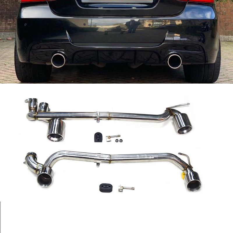 A set of stainless steel two out car exhaust tip and muffler tail fit BMW E90 E92 318 320 330 MP MT bodykit in 2006-2016 title=