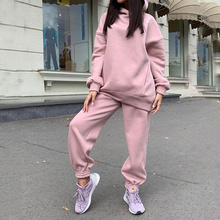 Suit Hoodie Pants Sportswear Oversized Fleece 2piece-Set Woman Winter Long-Sleeve Female