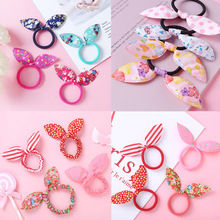 10pcs Children Elastic Hair Girl Scrunchies Hair Bands For Girls Hair Ties Bow Rabbit