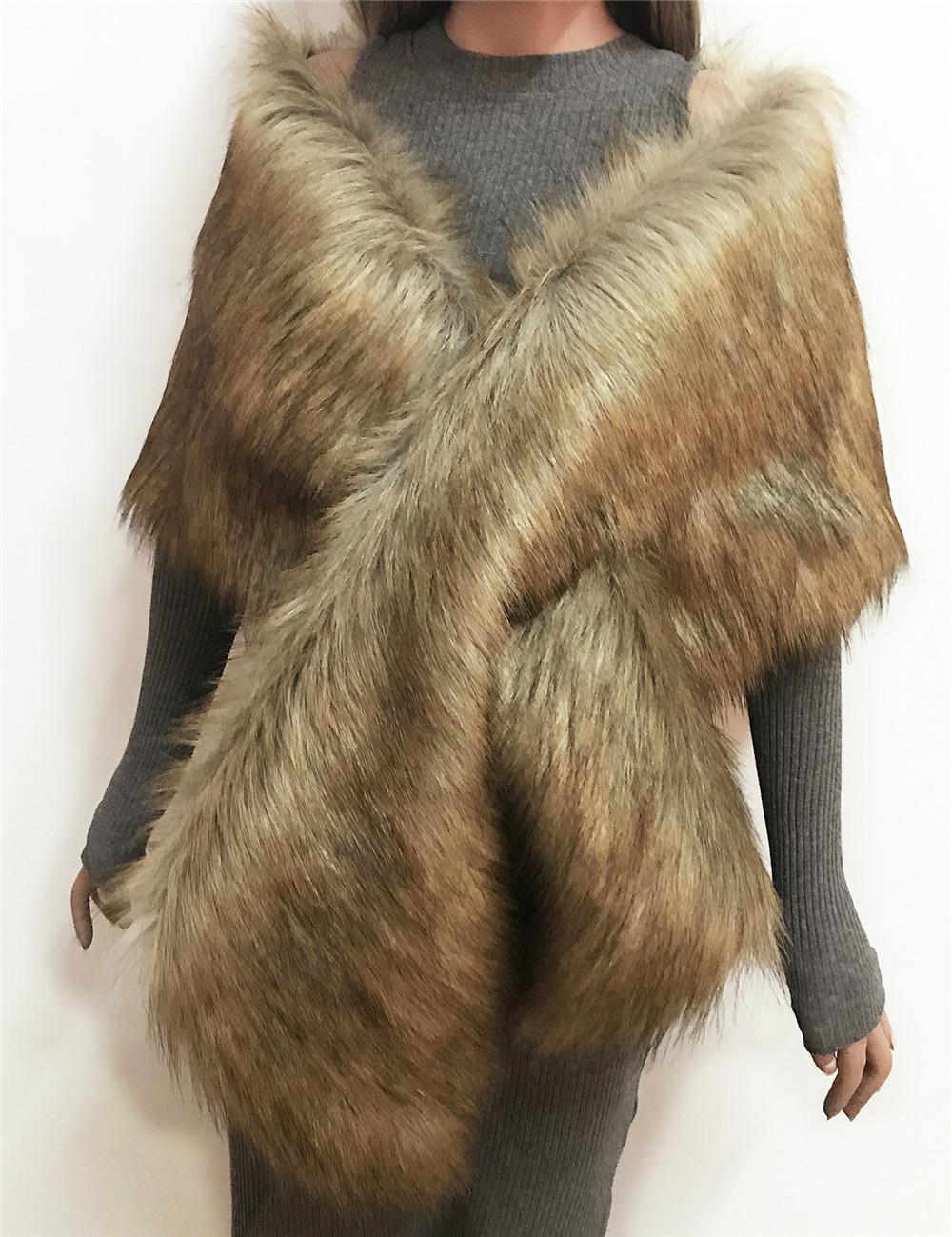 The autumn and winter new imitation fur big cape neck scarf multi-color joker scarf bride dress cross cape (4)