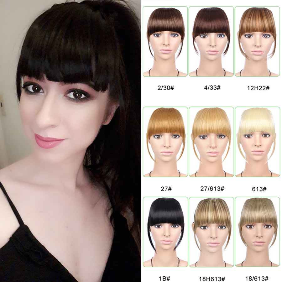 Alileader Hairpiece Clip-In-Bangs False-Fringe Synthetic-Hair Neat Front with High-Temperature title=