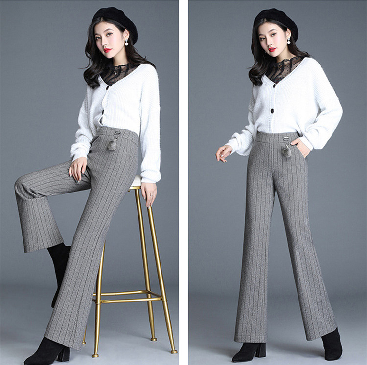Women/'s winter 2019 New High Waist Wide Leg Pants show big size loose drape pants JN965