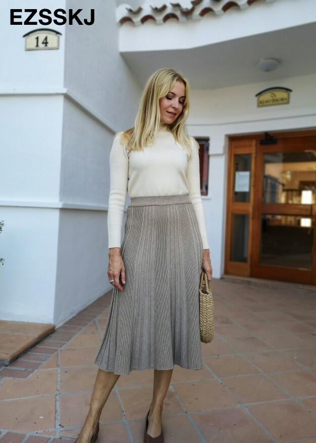 Vintage Winter Women thick sweater skirt Elastic High Waist Pleated Midi knitted Skirt A-line female solid elegant Skirts 5