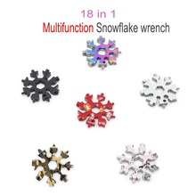 18 in 1 Multifunction Snowflake wrench Portable Universal screwdriver Hex Multifunction Key Ring Outdoor Hike Survive Hand Tools