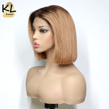 KL Human-Hair-Wigs Bob Wigs Honey-Blonde Lace-Front Bleached Knots Ombre Black Women