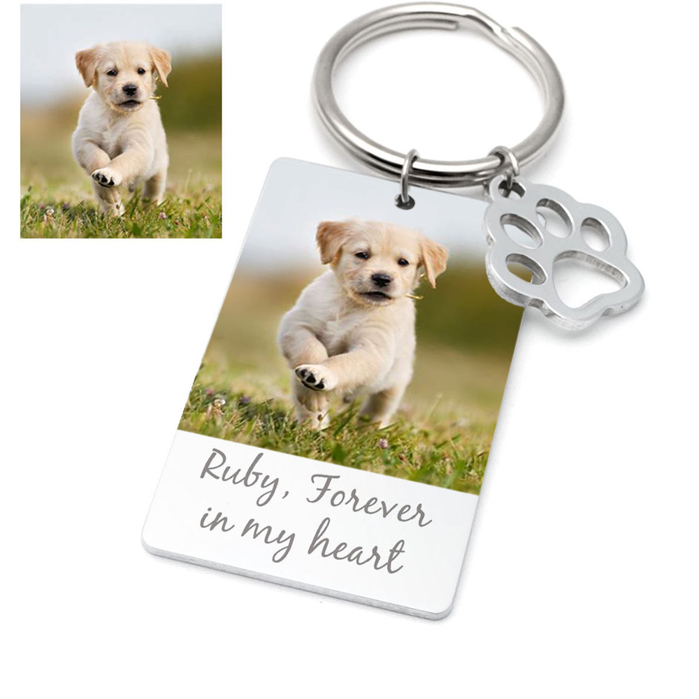 Dog in loving memory Boston terrier dog Personalised keyring Unique gift.