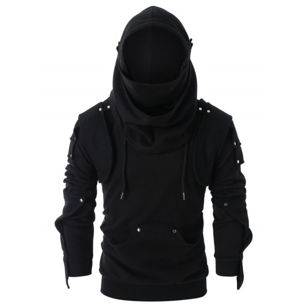 Rivet Hoodie Pullover Mask-Button Punk Long-Sleeve Retro Black Gothic Men Tops Sudadera title=
