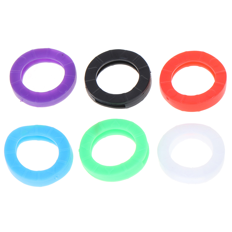 24pcs Bright Colors Hollow Multi Color Rubber Soft Keys Locks Cap Key Covers Topper Keyring Elastic Case Round Soft Silicone