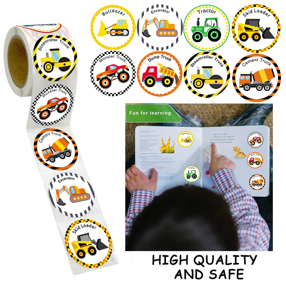 Cars And Truck Stickers Party Supplies Pack Toddler For Kids Perforated Roll Construction Sticker Car Home Family Birthday Party