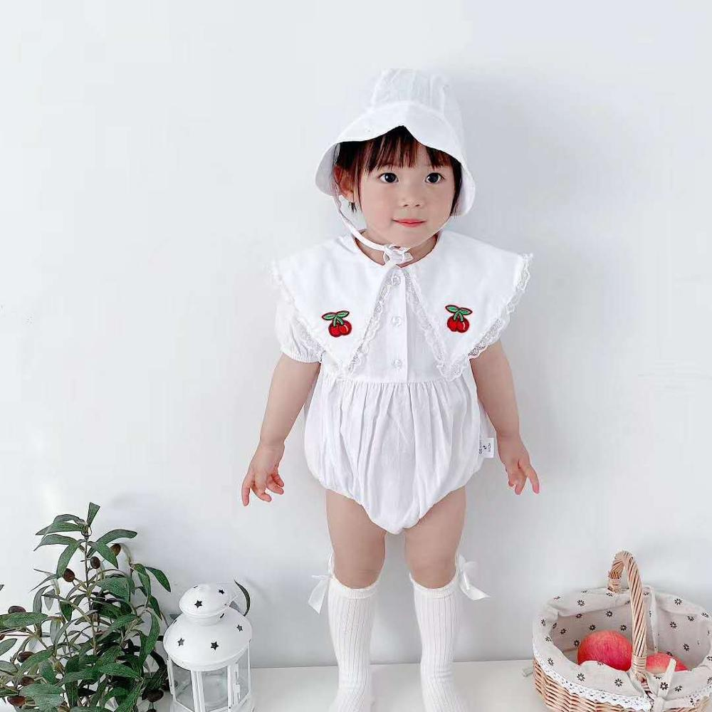 2020 summer romper for baby Sweet printed cherry lace one piece baby girl with CAP baby baby baby collar Romper