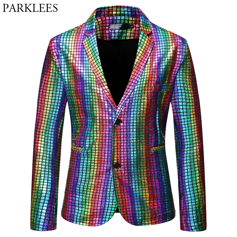 Mens Stylish Dancer Stage Blazer Jacket Gold Silver Rainbow Plaid Sequin Blazer Male Disco Festival Carnaval Party Prom Costumes