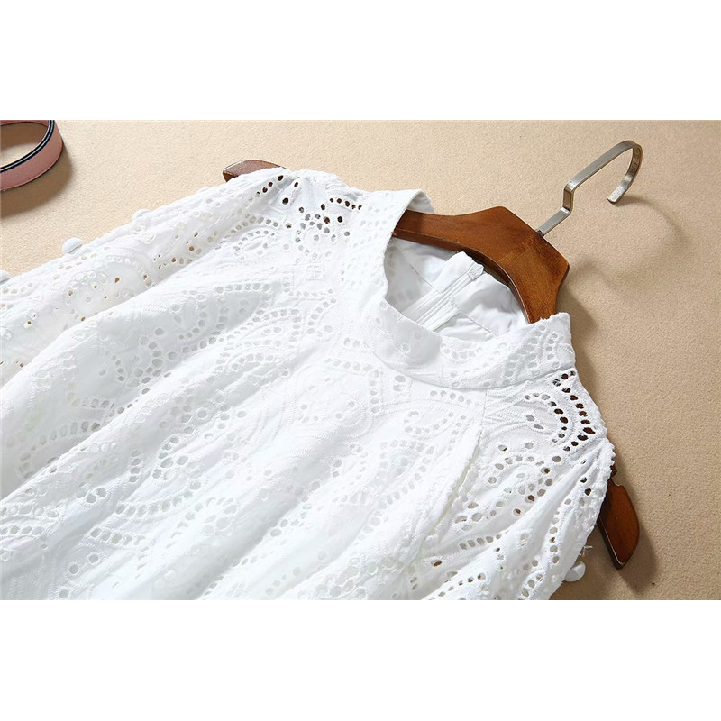 Europe Fashion Runway Dress 2020 Spring New Designer Women Long Sleeve Hollow Out Embroidery White Party Holiday Dresses