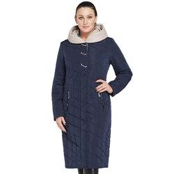 Новая зимняя женская куртка пальто из хлопка большого размера тонкая однотонная теплая зимняя куртка на молнии с капюшоном AM-2674