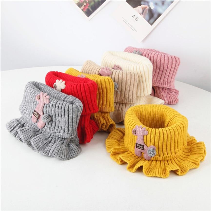 Kids Boys Girls Baby Animal Cartoon Floral Scarf Cotton O Ring Neck Warm Scarves