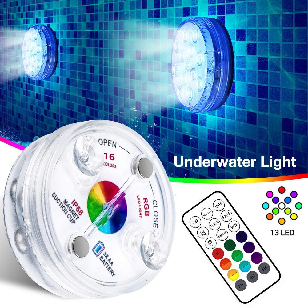 Lighting - Underwater Light IP68 Waterproof Wear-resistant LED Submersible Swimming Pool Lamp with RF Remote