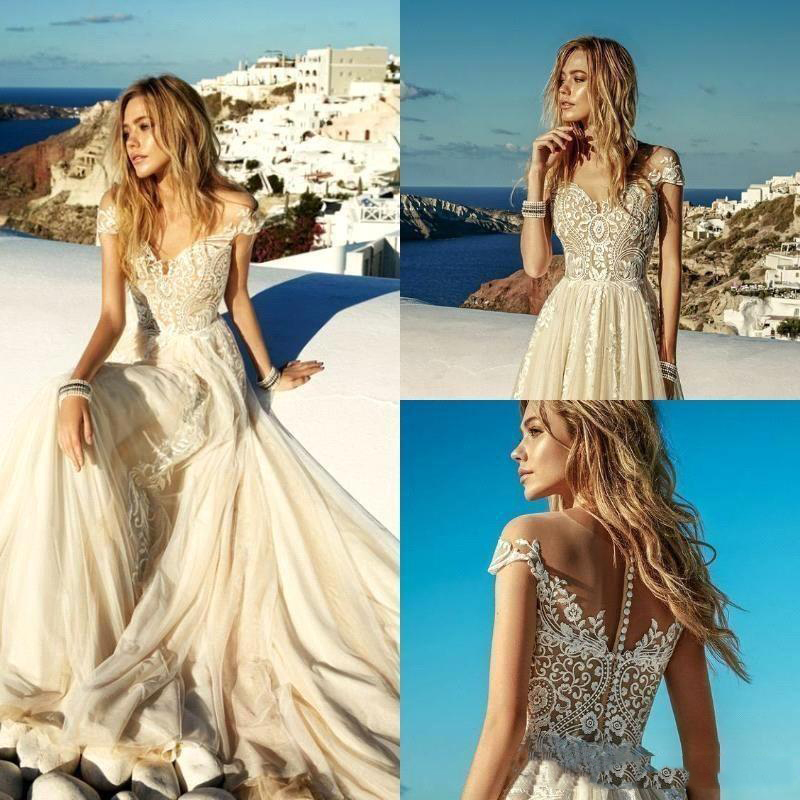 SoDigne 2020 New Champagne Wedding Dresses Boho Beach Chiffon Lace A Line Appliques Long Bridal Gowns estido de novia