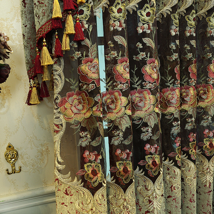 Chenille Embroidery Curtain European Cashmere Thickened Paste, Curtains for Living Dining Bedroom Hollow Valance