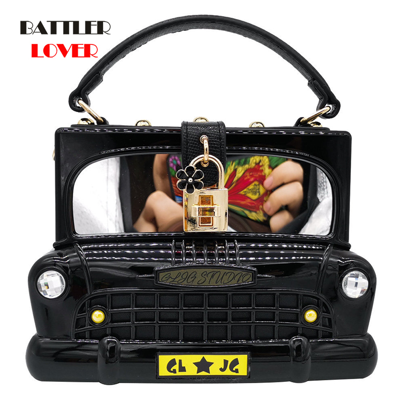 Bags for Women 2019 Car Shape Women Acrylic Handbags Fashion Shoulder & Crossbody Bags Ladies Clutch Totes Bag Girls Messenger