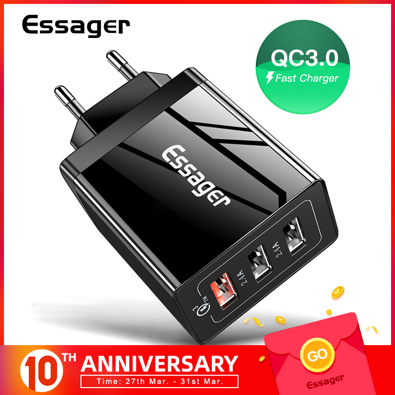 Essager Usb-Charger Multi-Plug QC3.0 Wall iPhone Xiaomi Mi Samsung for 30W title=