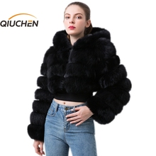 Short-Coat Long-Sleeves Real-Fox-Fur Winter Women QIUCHEN with Hood High-Quality Fashion-Model