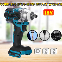 Drillpro 18V Brushless Cordless Electric Impact Wrench Rechargeable 1/2 Socket Wrench