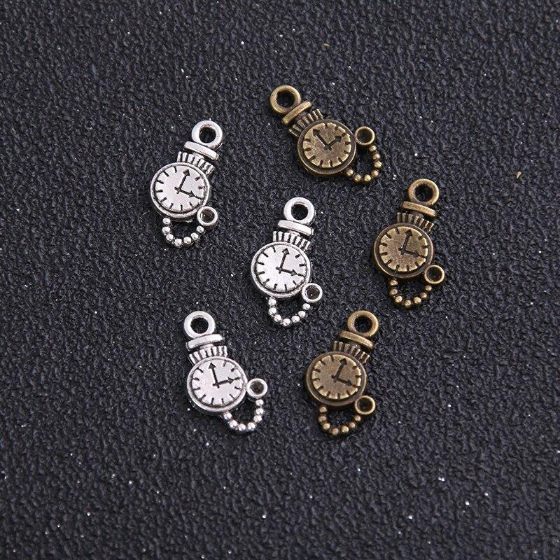 Alarm Clock Jewelry Bead for European Style Charm Bracelets Necklace Bronze Tone