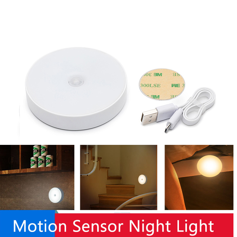 6 LEDs PIR Motion Sensor Night Light Auto On/Off Wireless USB Rechargeable Wall Lamp for Bedroom Stairs Cabinet Wardrobe