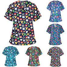 Blouse Scrubs Tops Working-Uniform Nurse-Accessories Women Print Cartoon V-Neck Short-Sleeve